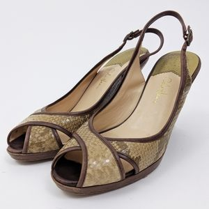 Cole Haan Nike Air Slingback Snake Print Wedge 9.5